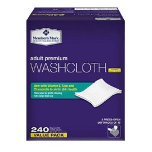 Member's Mark Adult Washcloth Disposable Moist Wipes 12″ x 8″ – 240 ct